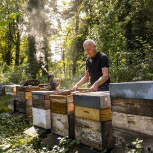 Hermann Bohle Mit Seinen Bienenkästen Im Wald   Foto: Weissengruber & Partner