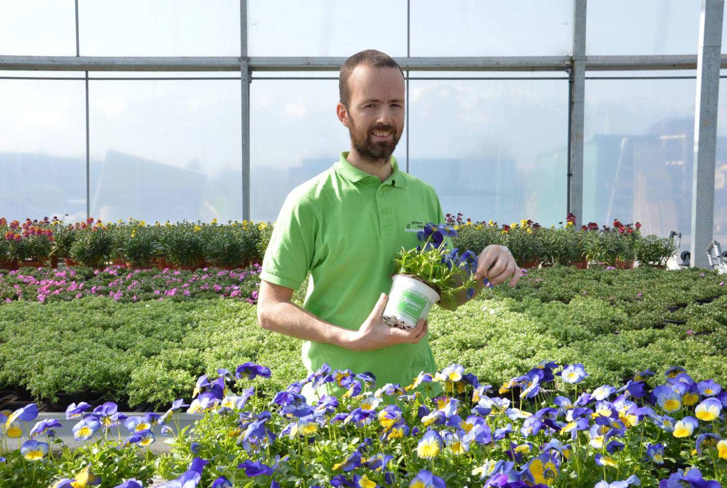 Alexander Angeloff Hält Eine Topfblume In Der Hand, Während Er In Seinem Gewächshaus Steht